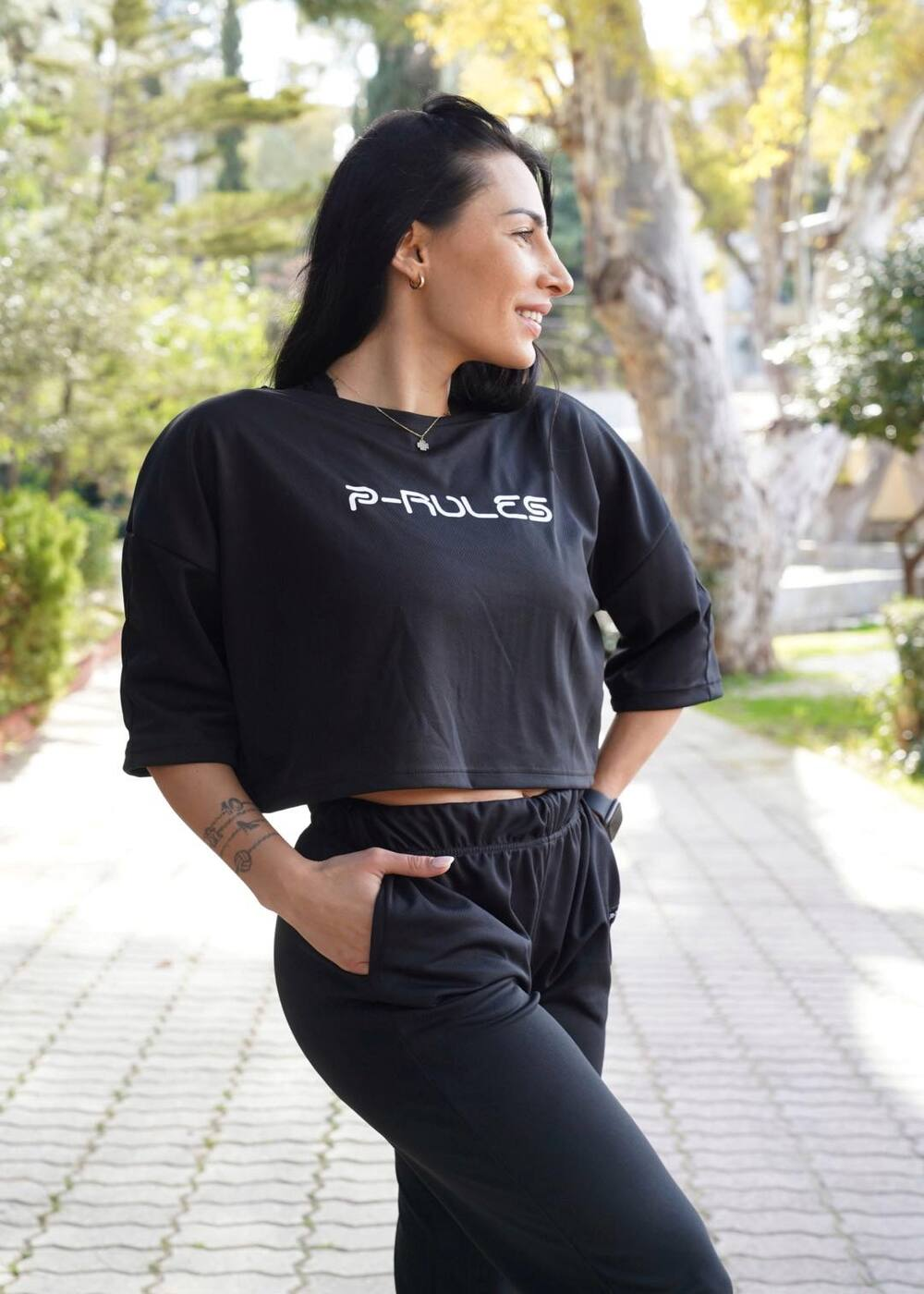 Crop top Oversized Dri-Fit μαύρο